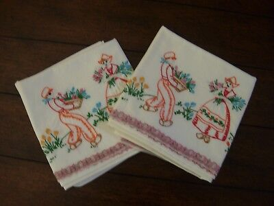 2 Vintage Hand-Made Embroidered Dutch Boy & Girl Couple Standard Pillow Cases