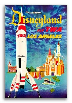 1955 Disneyland FLY TWA Los Angeles Vintage Style Travel Poster - 16x24