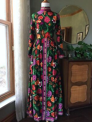 70s Oscar de la Renta Boutique Maxi Dress Colorful Flowers Designer 60s Vintage