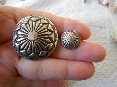 Antique/vintage Pair Of Good Looking Silver Type  Buttons  #195