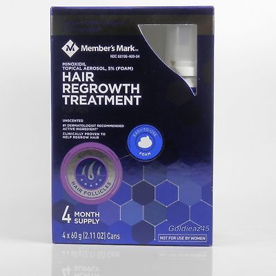 Member's Mark 5% Minoxidil Topical Foam Aerosol Hair Regrowth, 1 2 3 4 8 Months