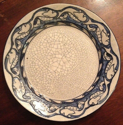 Rare Antique Early 20Th C Dedham Pottery Upside Down Impressed Dolphin Plate