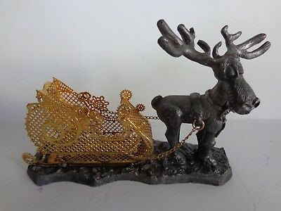 Christmas Moose Pulling Sleigh  Pewter Figurine Made In U.S.A.