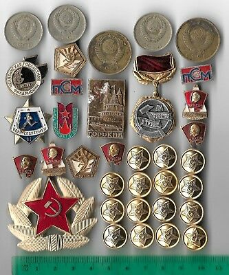 35 Rare Old CCCP Soviet Army Russian Badge Civil Pin COLD WAR Coin Collection I3