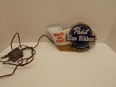 """Vintage 1950's Working Pabst Blue Ribbon Beer Light Up Sign  """"What'll You Have?"""""""