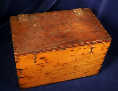 Vintage or Antique WOOD STORAGE BOX w Stamped Numbers Rubber Bottom Military?