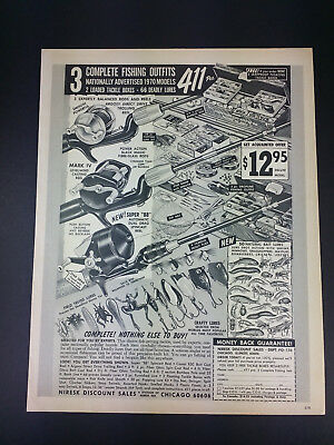 1970 Fishing Tackle Deal Vintage Magazine Print Ad Advertisement Rods Reels Lure