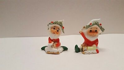 Vintage Christmas Napco  Miniature Bone China Spaghetti Trimmed Santa figurines