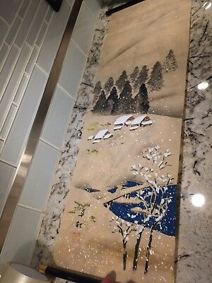Japanese Hanging Scroll Seasons Hand Painted Signed, Mt Fuji,Spring,Winter,Fall