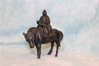 "Antique 7"" Chinese Bronze soldier riding horse incense burner circa 1865"