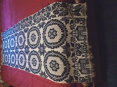 "Vintage Antique Indigo Blue American Woven Coverlet ~~ PIECE ~~ 82"" x 29"""