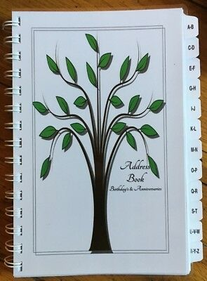 Large Print Address Book Birthday Anniversary Calendar A-Z Tabs Tree