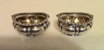 Antique British Sterling Silver Pair of Open Master Salt Cellar Pots Birmingham