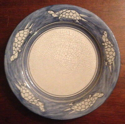 Rare Antique Early 20Th C Dedham Pottery Double Turtle Back Breakfast Plate