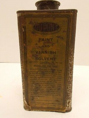 Vintage DUPONT Paint & Varnish Solvent Can~ Paper Label One Side Only