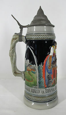 "Vintage Albert Jacob Thewalt German Beer Stein ""Hunters Coat of Arms"" 1205 yqz"