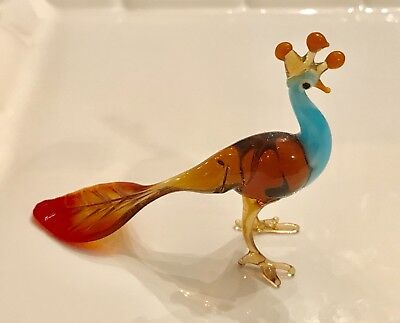 Beautiful Multicolored Hand made Lampwork Glass Peacock ( figurine )