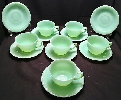 6 SETS of ANTIQUE FIRE KING JADEITE JANE RAY CUPS (6) & SAUCERS (8) - 14 PIECES