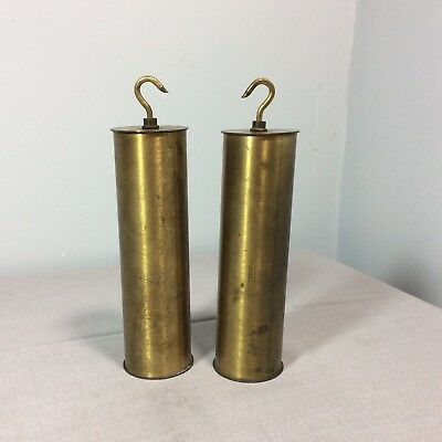 Antique Pair Of Brass Tall Clock Weights