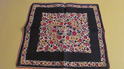 """Vintage Navy Blue Yellow Red Spring Daffodil Floral Linen Hankie Hand Rolled 13"""""""
