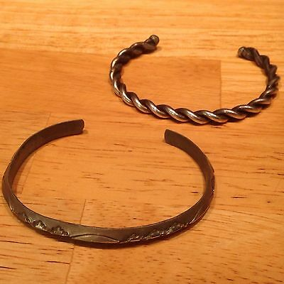 Sterling Carinated Cuff Bracelet and Silver Twisted Cuff