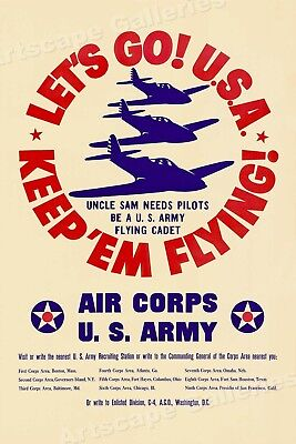 1940s Lets Go USA! US Army Air Corps Vintage Style WW2 Poster - 16x24