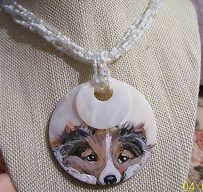 Sheltie hand painted  beaded shell adjustable  pendant necklace
