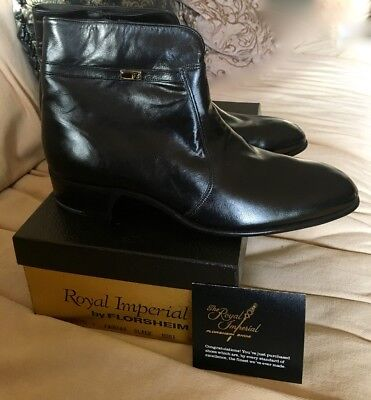 Vintage Royal Imperial Florsheim Fairfax Black Boots New Old Stock In Box 9 D