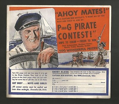 3 Vintage 1935 Proctor & Gamble Soap Pirate Coloring Contest Entry Forms