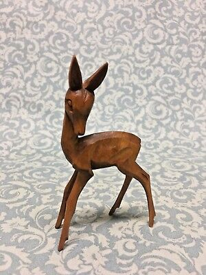 "Hand Carved Fawn Deer wood figurine very delicate 4-1/4"" tall"