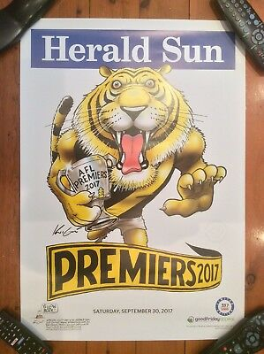 2017 Afl Premiers Richmond Tigers Mark Knight Limited Edition Poster 337 Of 1000