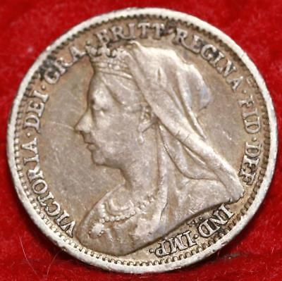 1900 Great Britain 3 Pence Silver Foreign Coin Free S/H