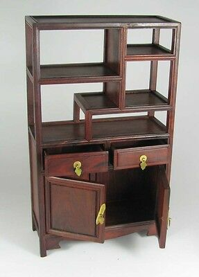 China rosewood carved 2-door 2-drawer Mini MingQing style furniture for ornament