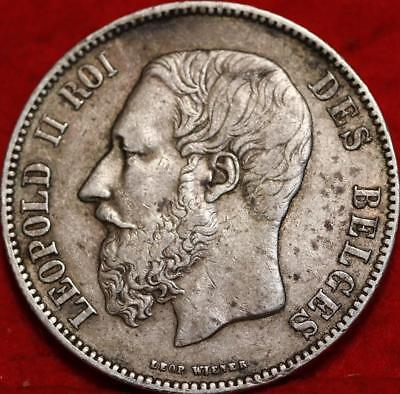 1873 Belgium 5 Francs Silver Foreign Coin Free S/H