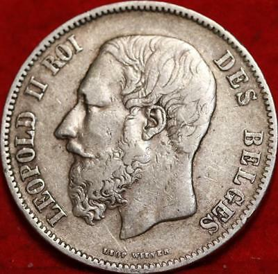 1870 Belgium 5 Francs Silver Foreign Coin Free S/H