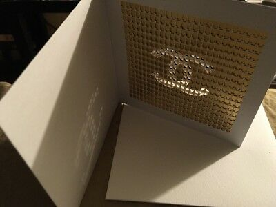 Authentic Chanel Christmas Holiday Greeting Card With Perfume Bottles Cc Logo