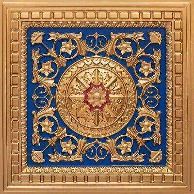 PVC Decorative Ceiling Tile 2' x 2' (Lot of 25) - Gold/Blue/Red #215 Drop-in