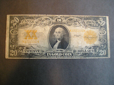 1922 $20.00 Gold Certificate in Good - Vg Condition
