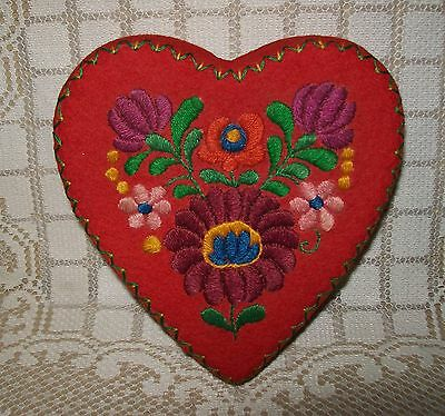 Vintage Hungarian Folk Art Embroidered Red Felt Heart-Shaped Box