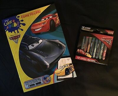 GREAT STOCKING STUFFER!!NEW!! Disney Cars Color & Play Book w/ 10 Cars Crayons