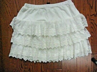 NEW  With Tags Gap Kids Girl's  Ivory Lace Ruffled Skirt  Size 10 Large