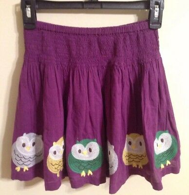 Mini Boden Size 9-10 Girls Owl Embroidered Purple Skirt