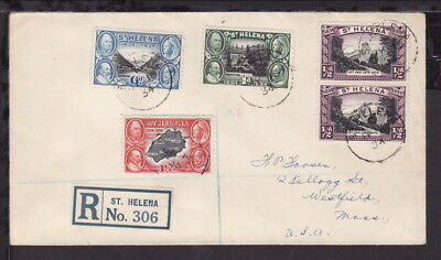 ST HELENA 1934 KGV REGISTERED COVER bearing STAMPS x 5 Rate 9½d to USA