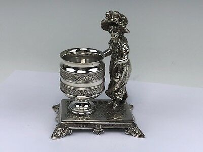 James Tufts Silver Plate Victorian Kate Greenaway Figural Toothpick Holder