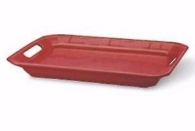 New in Box Longaberger Pottery Serving Tray Platter Tomato Red 17 X 12