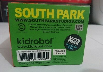 KIDROBOT South Park GID Dead Kenny 2011 NYCC Exclusive factory sealed new