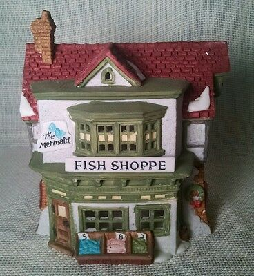 Dept 56 Dickens Village Series Hand Painted Porcelain The Mermaid Fish Shoppe
