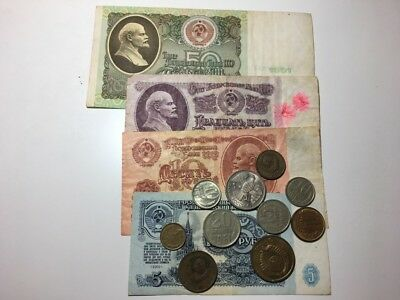Old USSR Russian Rubles CCCP Banknotes and Coins Collection Lot #10