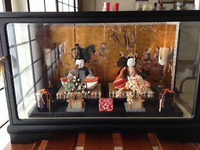 Vintage Japanese Hina Doll Set with Glass Case