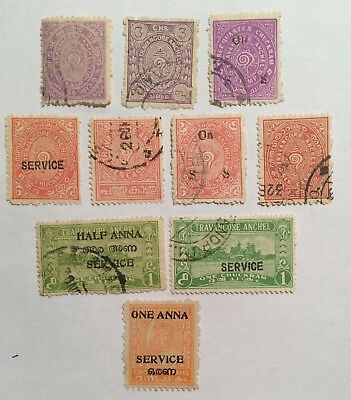 postage stamps India  Travancore lot of 10    old.      O
